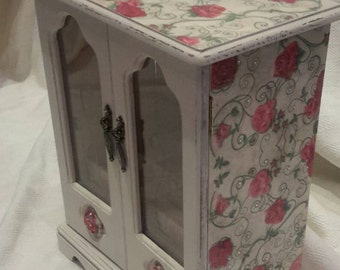 Shabby chic jewellery box  rustic large hand decorated decoupage roses and rhinestones  upcycled distressed hand painted wardrobe gift