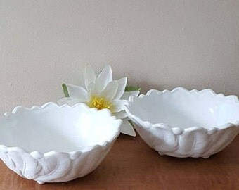 Vintage Milk Glass Bowls Set of 2 Indiana Glass Wild Rose 1960s Pattern