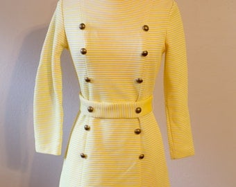 1970s Glenbrooke Jr. Yellow and White Striped Dress with Military Style Buttons // As-Is, See Condition