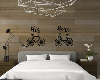 His and hers, bicycle wall decal, bicycle decal, hipster wall art, hipster decal, his and hers decal, his and hers bedroom, cyclist decals