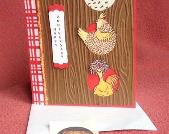 """Happy Anniversary Card, Chickens, Hen House, Eggs, """"Hey, Chick"""" Stampin' Up Card, Dawn's BlanchCards Greeting Card"""