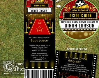 Hollywood Invitation Red Carpet Ticket Invite A Star is Born Baby Shower invitation Oscars, premiere night marquee, printed invitations