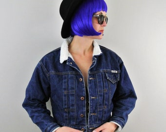 Vintage Cropped Denim Jean Jacket with Thick Cotton Lining