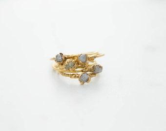 Raw Diamond Stacking Ring, Stackable Raw Diamond Ring, April Birthstone Ring, Electroformed Diamond Ring, Rough Diamond Ring