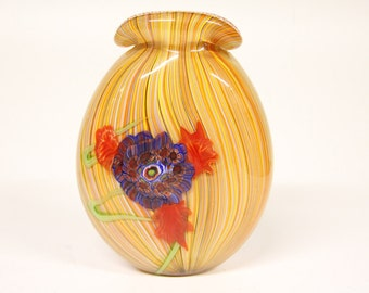Vintage Murano Multicolor striped vase with floral decor-art glass-glass object