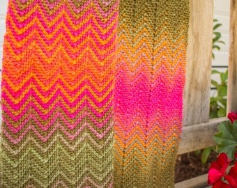 Zick and Zack (zig zag) Knitted Scarf in Autumn Colours