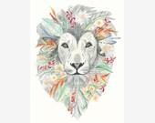 dibujo león, dibujo botánico, ilustración león, ilustración botánica, ilustración naturaleza, dibujo floral, dibujo animal, dibujo flores