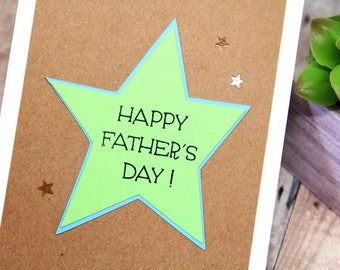 Handmade Happy Father's Day Card - Hand Stamped Fathers Day Card - Card for Dad with Stars - Hand Made Embossed Kraft & Green Card for Dad