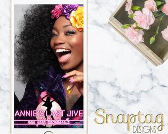 Custom Snapchat Geofilter || NYC neon bachelorette, New York, bachelorette, neon sign, pink neon, disco, last jive, 70s theme, hippie, dance
