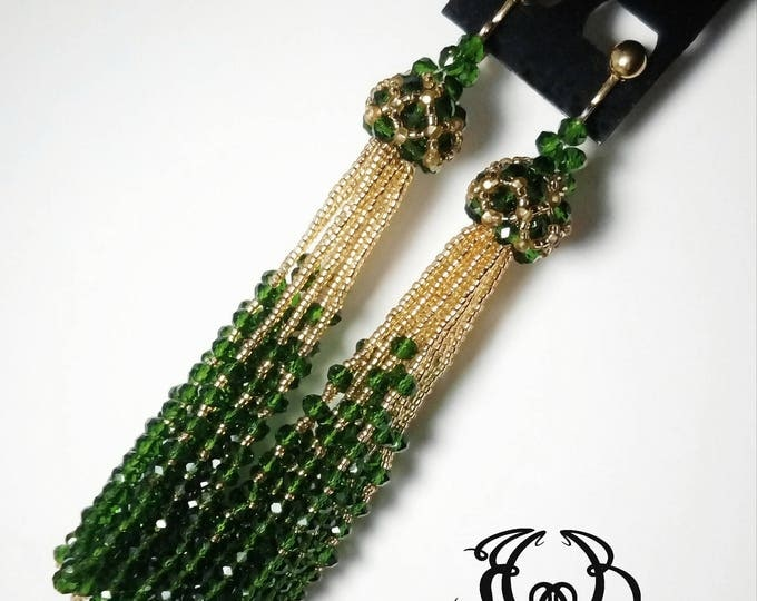 Emerald Gold Tassel Black Earring Clip on Tassel Earrings Oscar de la Renta Long beaded Tassel Earrings Large Crystal Tassel Earrings