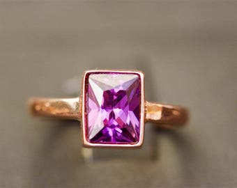 Sterling Silver Amethyst Ring, Rose Gold Amethyst Ring, February Birthstone Ring, Birthstone Ring, Custom Birthstone Ring, Unique Rings