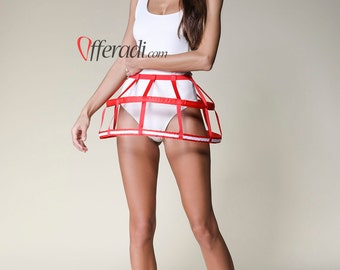 Red Modern Cage Skirt Hoop Skirt Avantgarde Festival Fashion
