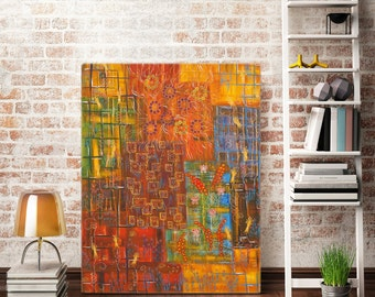 Large wall painting Abstract painting Multicolored squares Wall decor 90х70 cm Meditation art
