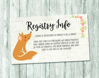 spring baby shower registry card woodland baby shower registry insert forest baby shower