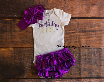 Birthday girl bodysuit, baby girl bodysuit, baby girl outfit, purple bloomers, photo session outfit, 1st birthday outfit, first birthday