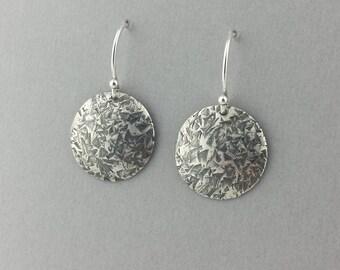 Round Domed Earrings, Sterling Silver Earrings, Hammered Round Earrings, Domed Earrings, Round Earrings, Oxidized, Everyday Earrings