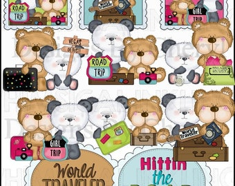 Bear Pals Love to Travel planner sticker clipart  personal and small commercial use ok