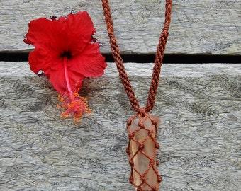 Lemurian Crystal Macrame Necklace