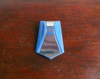 Vintage Art Deco Czech Glass Dress Clip, Chrome and Blue
