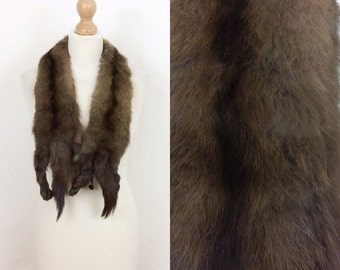 Vintage marten/sable taxidermy real fur stole/collar/tippet/scarf