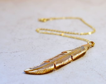 Gold Dipped Feather Necklace, Bohemian Chic Boho Layering Piece, Junky Festival Gypsy Jewelry