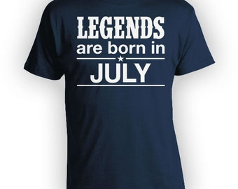 Custom Birthday Shirt July Birthday Present For Him Personalized T Shirt Bday Gift Ideas Legends Are Born In July Mens Ladies Tee - BG276