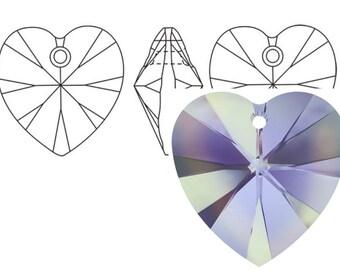 Swarovski 6228 Crystal Heart Pendant 10mm Vitrail Light 4PC 12PC