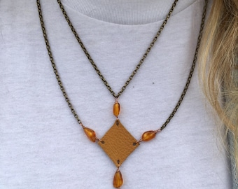 Brass Chain with Buddha, Leather, and Amber