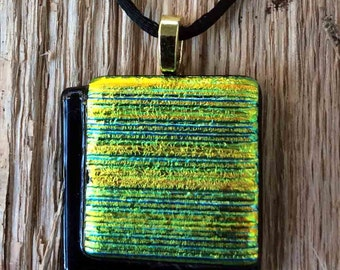 Black and Blue and Green and Gold (Oh My!) Fused Glass Pendant, Handmade Necklace, Focal Bead, One of a Kind