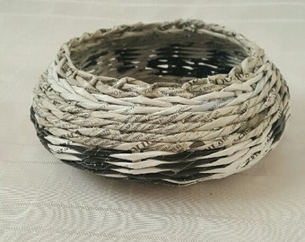 Decorative Woven Round Basket Organizer Paper Wicker Anniversary gift for Men