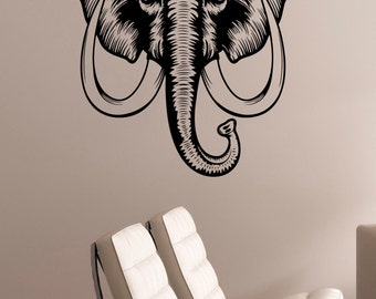 Elephant Head Wall Decal Removable Vinyl Sticker Indian African Wild Animal Art Decorations for Home Living Room Bedroom Wildlife Decor elp1