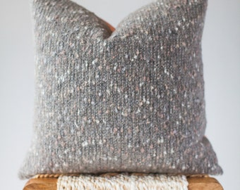 Cozy, Textured Knit Wool Pillow Cover: Grey and Pink