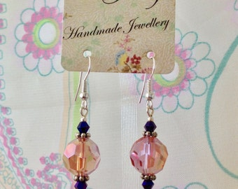Pink and purple glass beaded earrings.