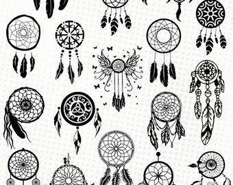 Dreamcatchers - 20 svg/dxf/eps/studio/png - Silhouettes, cutting files, clipart, vector files - Dream catcher svg dreamcatcher silhouette