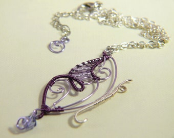 Necklace with Purple and lilac-copper Butterfly Necklace with a Violet Butterfly in copper