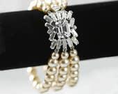 Vintage Art Deco Style 3 Strand Faux Pearl Bracelet  Stunning Diamante Crystal Clasp  Cocktail  Bridal  Wedding