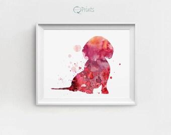 Dachshund Art, Dachshund Print, Digital Dachshund, Dachshund Wall Art, Red Magenta, Large Printable, Watercolor Dachshund, Dachshund Art