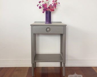 Vintage Side Table with Wallpaper Top