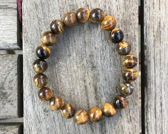 Golden Tigers Eye Energy Bracelet - Tigers Eye Bracelet - Healing Bracelet - Yoga Jewellery - Chakra Jewellery - Confidence