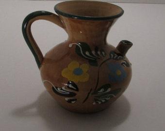 Vintage hand painted , Mexican vessel , unique spout, great condition,