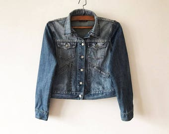 Cropped denim jacket | Etsy