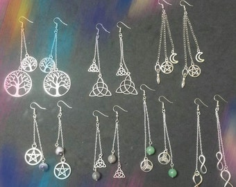 Earrings with natural stones, wicca, wiccan jewelry, paganism, pagan jewelry, paganism