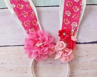 Bunny Ears Headband - Flower Bunny Ears, Lace Bunny Ear Headband, Easter Bunny, Easter Headband, Lace Ears, Bunny Ears, Flower Crown, Lace