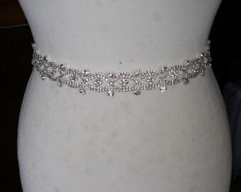 Wedding Dress Sash/ Wedding Dress Belt/Crystal Sparkle Sash/ Rhinestone Sash/Wedding Dress Tie Back Belt