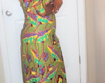 Classy Ankara Off Shoulder Maxi Dress, classy African maxi dress, robe africaine, tissus Africain, tessuti africani, Ankara print,  pagne