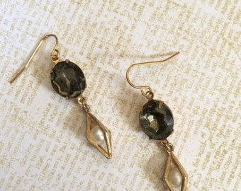 Salvaged/Assemblage Deco Style Grey & Gold Earrings