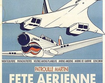 Vintage French Air Show Concorde Poster A3 Print