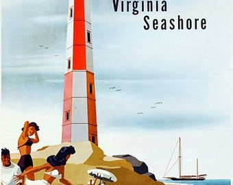 Vintage Virginia Seashore US Railroad Tourism Poster A3 Print