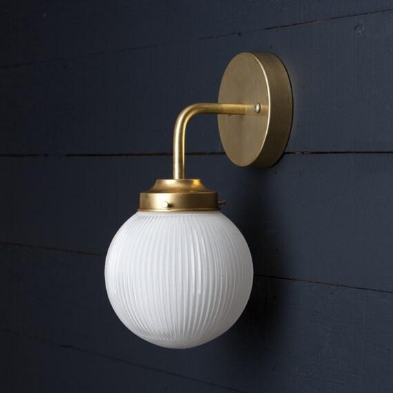 Wall Sconce Glass Globes : Holophane Glass Globe Brass Wall Sconce