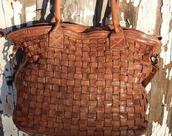 "Camel Italian Leather ""Exclusive"" Handmade Woven Top Grain Purse"